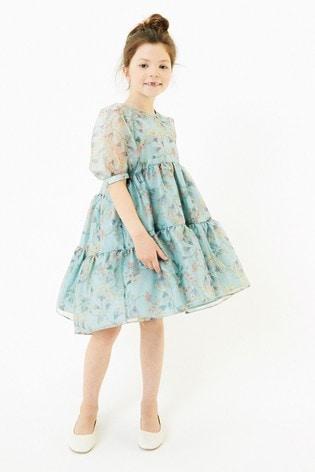 Mint Printed Organza Dress (3-16yrs)