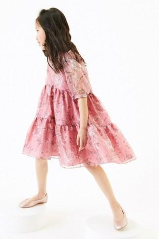 Pink Printed Organza Dress (3-16yrs)