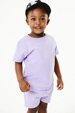 Lilac Plain Sweat T-Shirt And Shorts Set (3mths-7yrs)