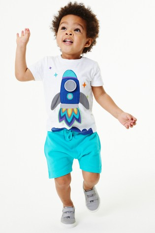 White/Blue Rocket Appliqué T-Shirt And Shorts Set (3mths-7yrs)