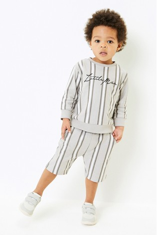 Grey Vertical Stripe Jersey Crew And Shorts Set (3mths-7yrs)