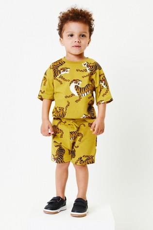 Yellow Tiger All Over Printed T-Shirt And Shorts Set (3mths-7yrs)