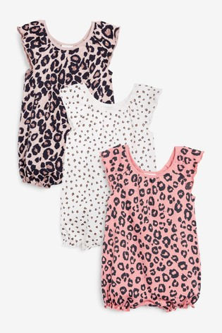 Pink Leopard 3 Pack Gathered Neck Printed Rompers (0mths-3yrs)