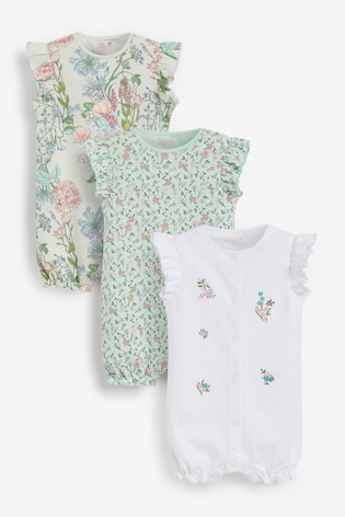 Green Floral 3 Pack Rompers (0mths-3yrs)