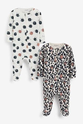 Animal Print 2 Pack Zip Sleepsuits (0-3yrs)