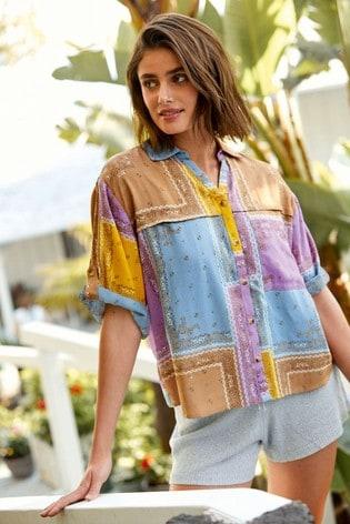 Purple Patch Print Short Sleeve Utility Shirt