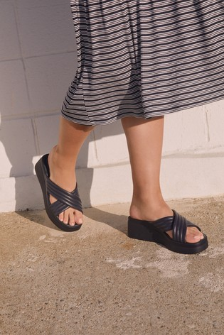 Black Sports Cross-Over Wedges