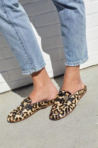 Leopard Driver Mule Shoes