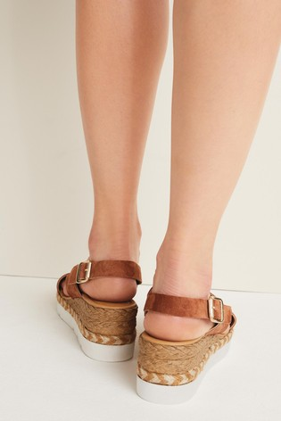 Tan Sports Cross-Over Wedges