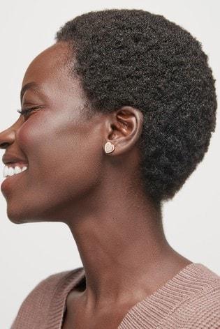 Rose Gold Plated Pavé Heart Stud Earrings