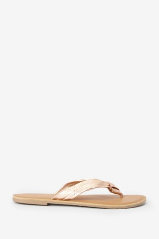 Rose Gold Regular/Wide Fit Twisted Knot Toe Thong Sandals