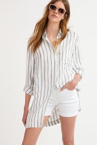 White Stripe Longline Shirt