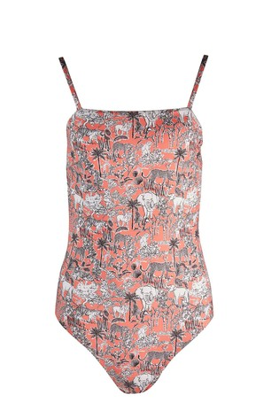 Oliver Bonas Pink Animal Kingdom Square Front Swimsuit