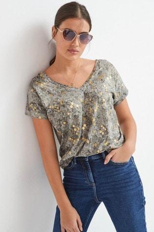 Grey Foil Snake V-Neck T-Shirt