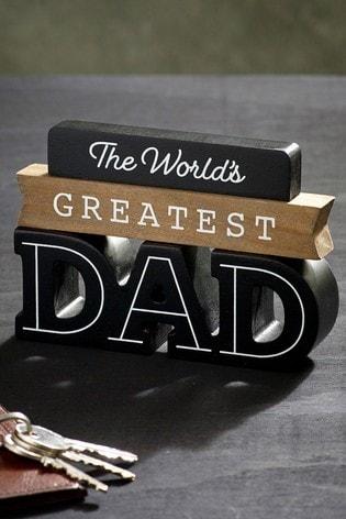 Black World's Greatest Dad Word Block