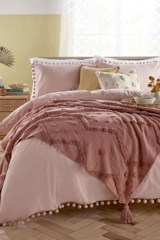 Pink Pom Pom Duvet Cover And Pillowcase Set