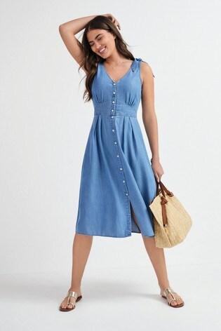 Blue TENCEL™ Bow Strap Button Through Dress