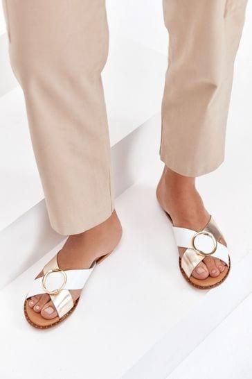 White/Gold Regular/Wide Fit Forever Comfort® Cross Over Mule Sandals