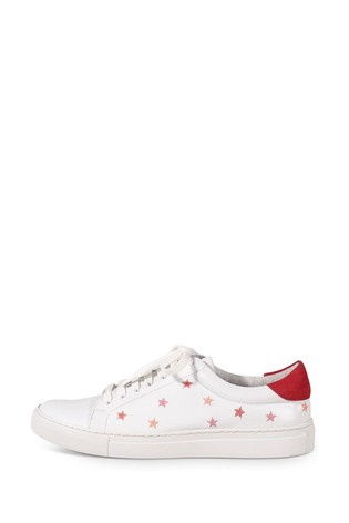 Oliver Bonas Embroidered Star White Leather Trainers by Next
