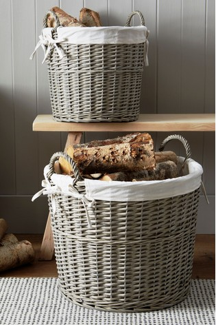 Set Of 2 Lined Wicker Log Baskets by Next