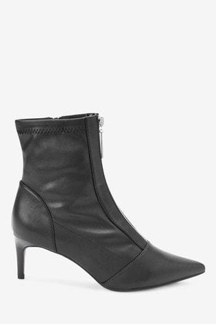 Black Zip Detail Sock Boots