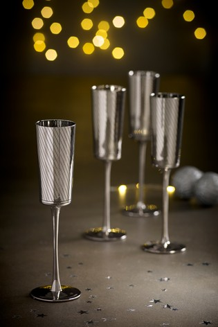 Beaumont Metallic Set of 4 Flute Glasses