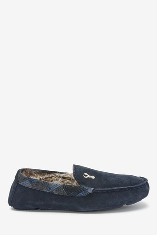 Navy Modern Heritage Moccasin Slippers