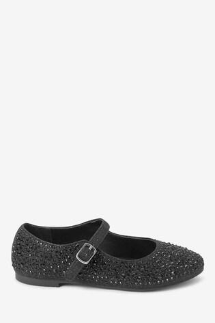 Black Embellished Mary Jane Shoes (Older)
