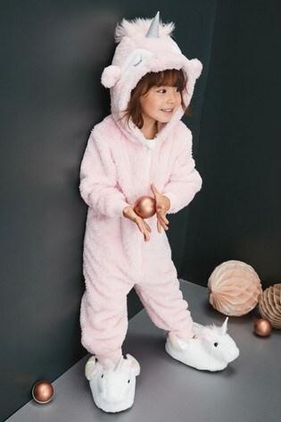 Pink Fleece Unicorn All-In-One (3-16yrs)