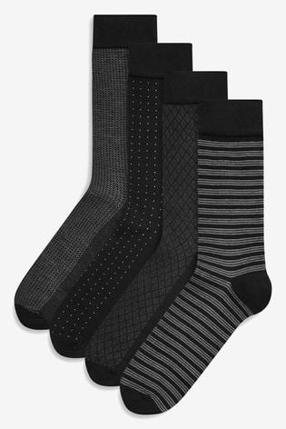 Black Pattern 4 Pack Signature Black Bamboo Socks