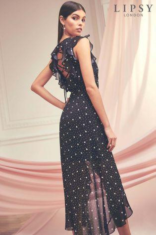 buy lipsy heart print cross back midi dress from the next