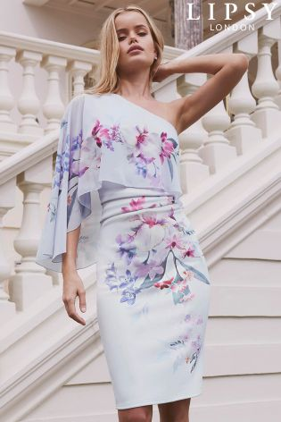 Buy Lipsy Lucia Print One Shoulder Bodycon Dress From The
