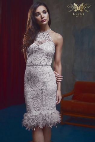 Buy Lipsy Vip Lace Embroidered Feather Hem Dress From The