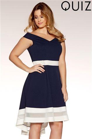 Buy Quiz Curve Bardot Mesh Dip Hem Dress From Next Spain
