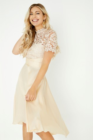 Buy Little Mistress Satin Prom Dress With Crochet From The