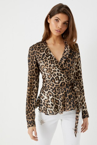 1cc26a9cdd78 Buy Lipsy Satin Leopard Wrap Top from Next Ireland