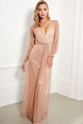 7dc52f2e7 Buy Sistaglam Embellished Long Sleeve Wrap Maxi Dress from Next Kuwait