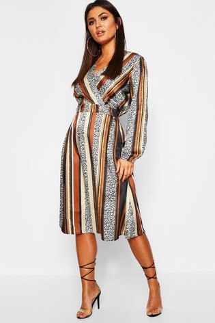 Boohoo Striped Button Front Midi Dress by Next