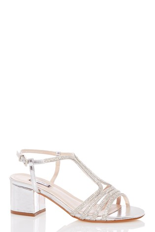 Quiz Diamanté Strappy Block Heel Sandal