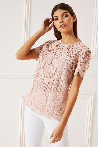 Lipsy VIP Nude Lace Top