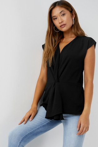 Lipsy Black Wrap Knot Detail Blouse