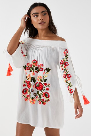 best deals on famous brand classic fit Buy Missguided Floral Embroidered Bardot Beach Dress from Next Ireland