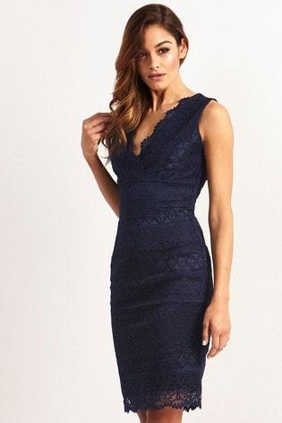 Lipsy Navy Lace Bodycon Dress