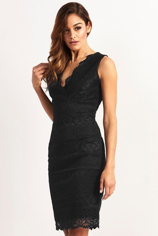 Lipsy Black Lace Bodycon Dress