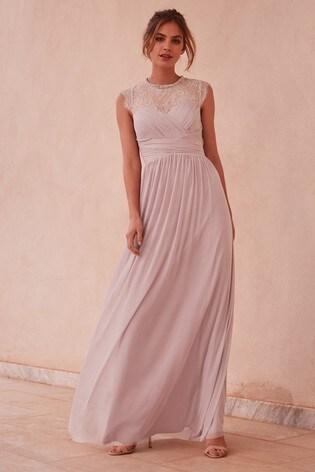 Lipsy Purple Elsa Lace Sleeve Mesh Maxi Dress