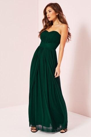 Lipsy Green Bella Mesh Multiway Maxi Dress