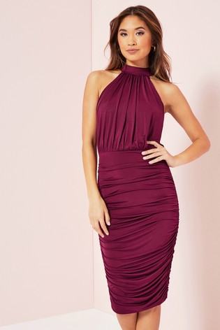 Lipsy Mulberry Ruched Slinky Dress