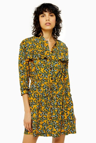 Topshop Agadir Paisley Ruffle Mini Shirt Dress