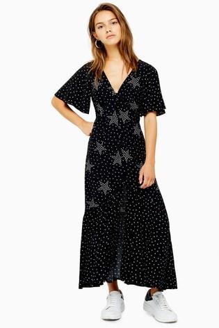 Topshop Petite Button Angel Sleeve Midi Dress