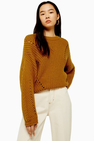 Topshop Brown Recycled Crew Neck Jumper